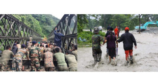 Pictures of the week(  Left:50 RBA soldiers assigned by His Majesty helping build the Bailey bridge. Right: A RBA soldier, Policeman and a DeSuup helping a Sarpang resident to safety.)