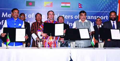 Transport Ministers from Bangladesh, Bhutan, India and Nepal with BBIN in 2015