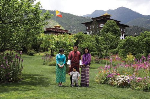 His Majesty The King, Her Majesty The Gyaltsuen, and His Royal Highness The Gyalsey with HIH Princess Mako of Akishino, at the Lingkana Palace. (The Nation will be celebrating the 27th Birth Anniversary of Her Majesty The Gyaltsuen on 4th June.)