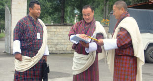 From Left to Right: DNT's Party Manager Phurba , General Secretary Tenzin Lekphell and President Dr Tandin Dorji outside the high court