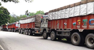 Trucks still lined up to get clearance in Jaigaon