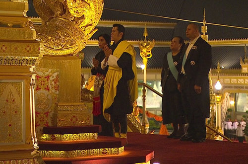 His Majesty The King and Her Majesty The Gyaltsuen offer respects at the Royal Cremation Ceremony of late King Bhumibol. His Majesty King Tupou VI and Queen Nanasipau'u of Tonga are also pictured in this image. More than 42 countries were represented by Kings, Queens, Royalty, Presidents, Prime Ministers, and senior leaders, gathered in Bangkok to pay last respects to His late Majesty King Bhumibol.