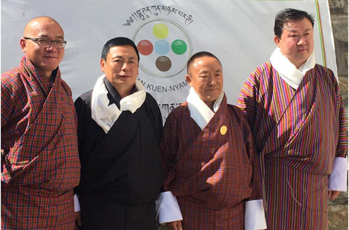 Picture from right: Thinley Dorji to contest from Chapcha Bongo constituency, Retd. Col. Dr. Leki Wangdi to contest from Chhoekhor Taang constituency and Nim Dorji to contest from Lamgong Wangchang with BKP Vice President Sonam Tobgay