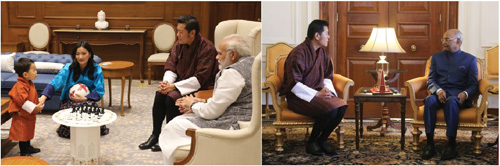 1 November 2017: Indian Prime Minister Shri Narendra Modi  said it was an honour to be introduced to His Royal Highness the Gyalsey and to welcome His Royal Highness on his first visit to India./ 1 November 2017: At the Rsahtrapati Bhavan in Delhi, The President of India Shri Ram Nath Kovind invited His Majesty The King for a State Visit to India next year as Bhutan and India celebrate the 50th Anniversary of formal diplomatic ties.