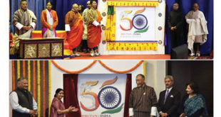Bhutan's Foreign Minister Lyonpo Damcho Dorji and India's Minister for External Affairs Sushma Swaraj jointly launch the logo for the golden jubilee of diplomatic ties between Bhutan and India