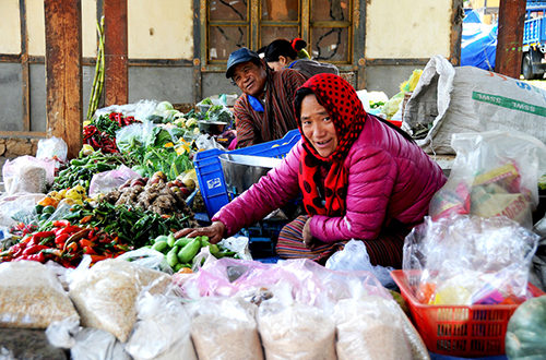 At the vegetable market in Bumthang (Photo by Kinley Yonten)